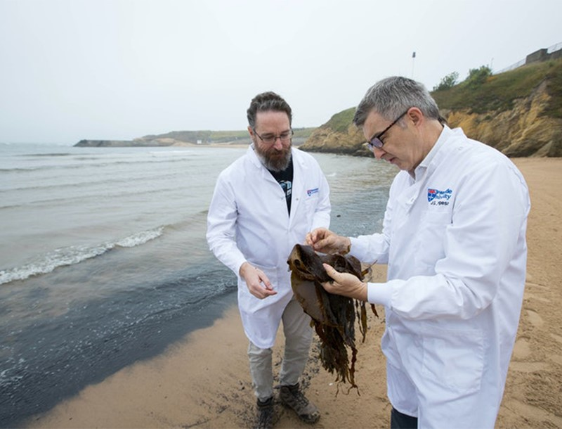 Undated handout photo issued by Newcastle University of Dr Michael Hall (left) and Professor Grant Burgess, who have studied an enzyme made by bacteria living on seaweed which will be used to make environmentally-friendly washing deturgents.